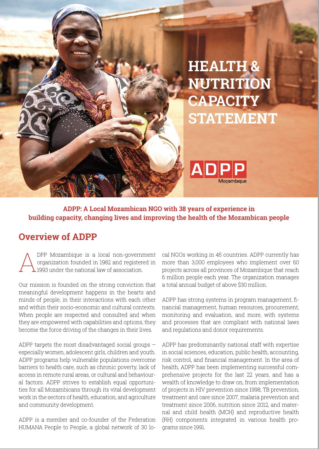 Capacity Statement Health Nutrition